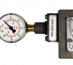 Pressure switch with gauge